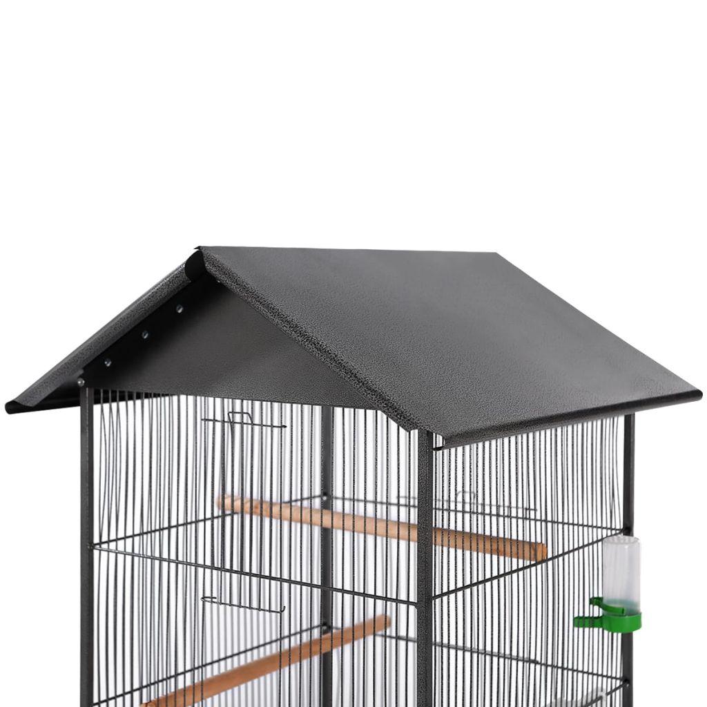 Fågelbur med tak 66x66x155 cm stål svart