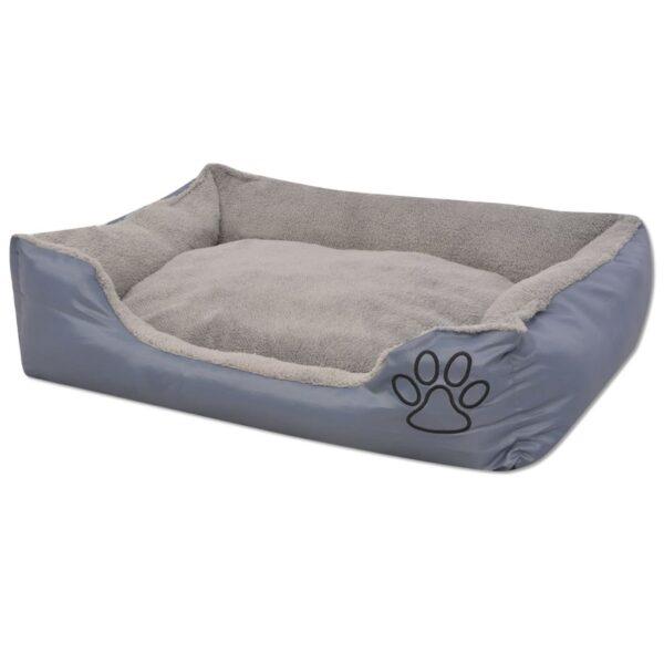 Hundbädd med vadderad kudde storlek S grå