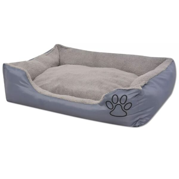 Hundbädd med vadderad kudde storlek L grå