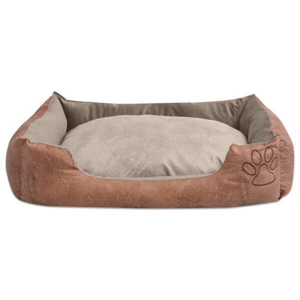 Hundbädd med kudde PU konstläder storlek L beige