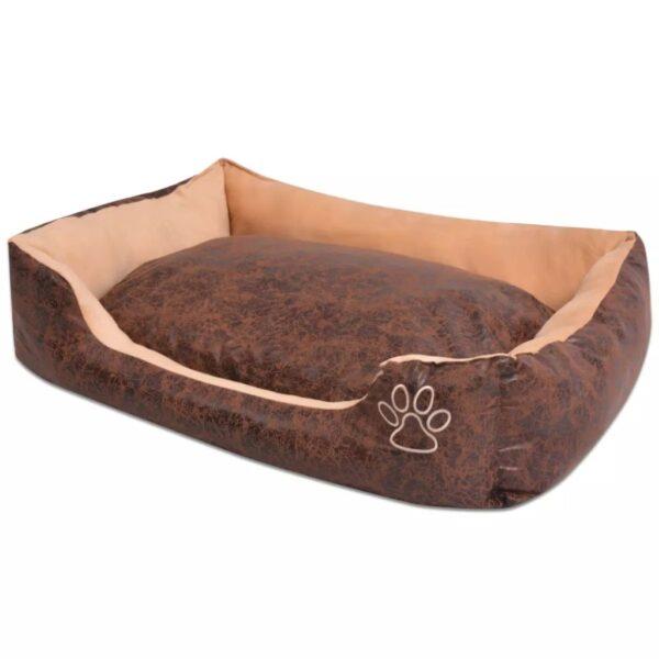 Hundbädd med kudde PU konstläder storlek M brun