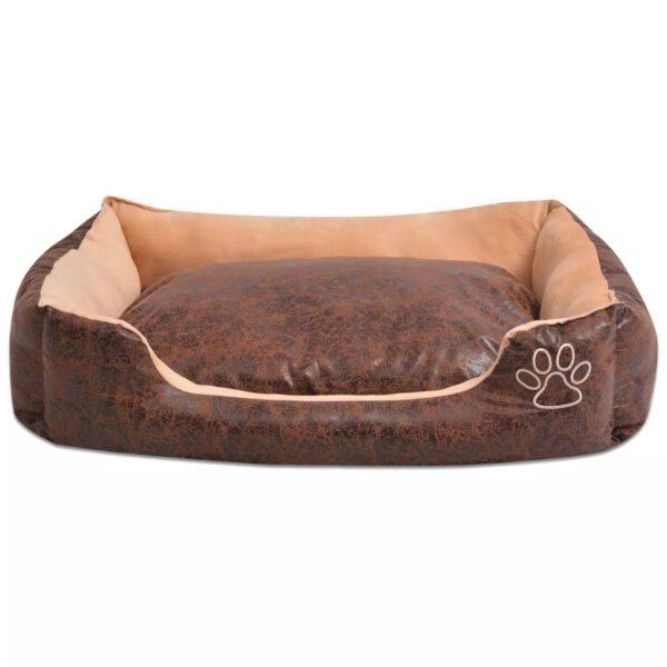 Hundbädd med kudde PU konstläder storlek L brun