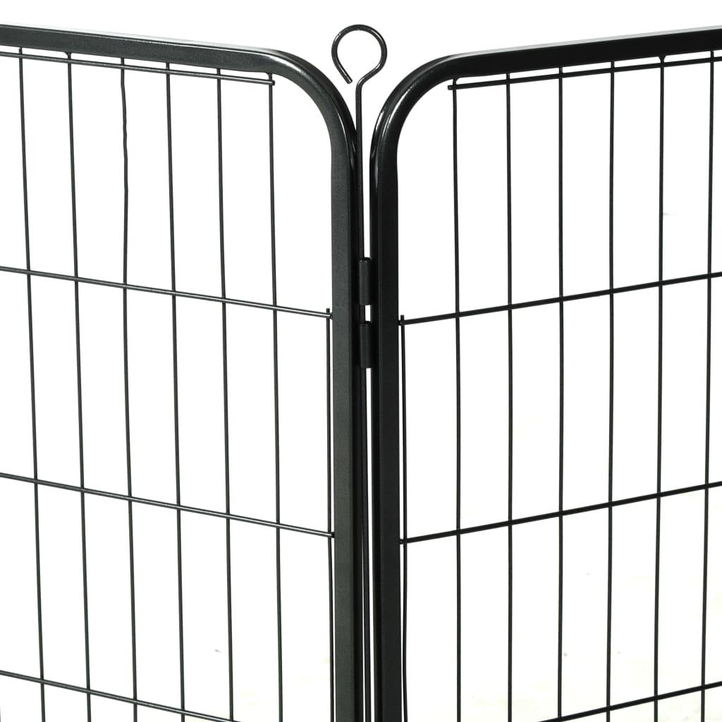 Hundhage 8 paneler stål 80x80 cm svart