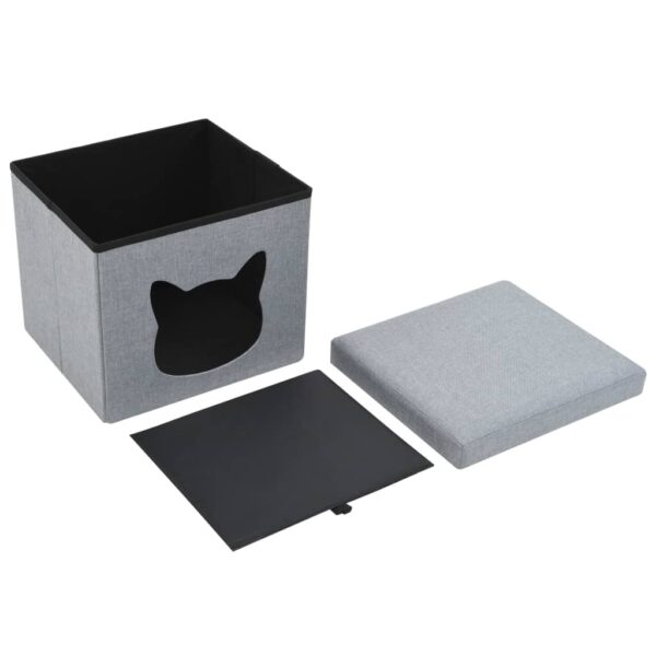 Kattbädd hopfällbar konstlinne 37x33x33 cm grå