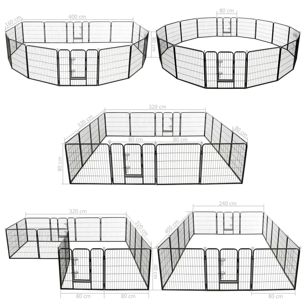Hundhage 16 paneler stål 80x80 cm svart