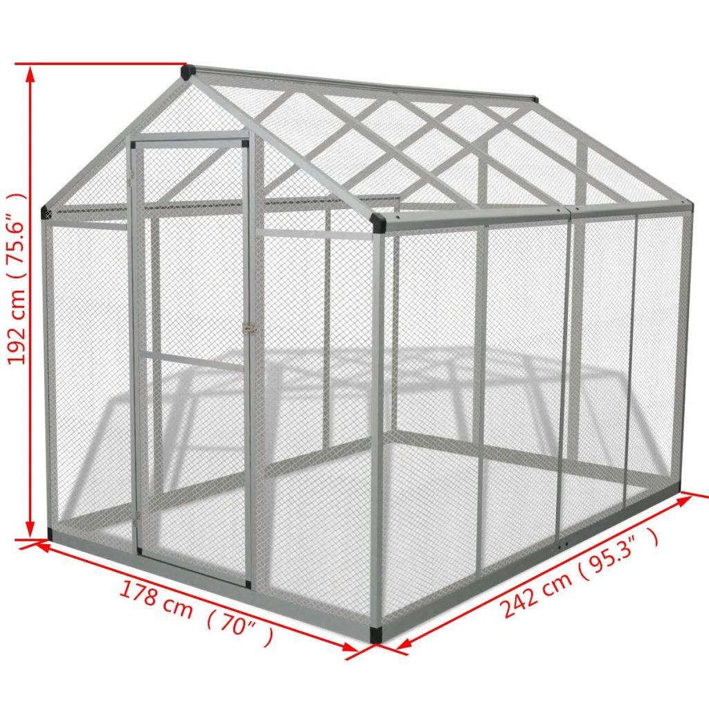 Voljär utomhusbruk aluminium 178x242x192 cm