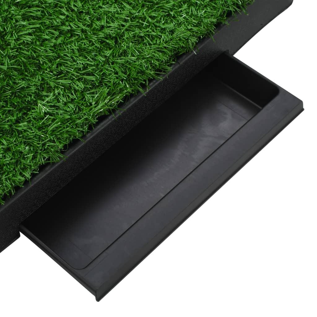 Djurtoalett med tråg och konstgräs grön 63x50x7 cm WC