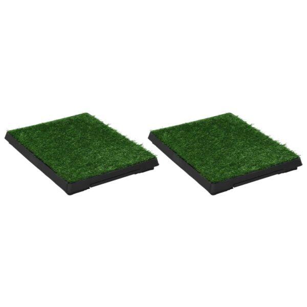 Djurtoaletter 2 st med tråg och konstgräs grön 63x50x7 cm WC