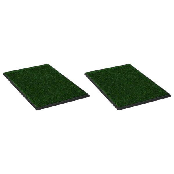 Djurtoaletter 2 st med tråg och konstgräs grön 76x51x3 cm WC