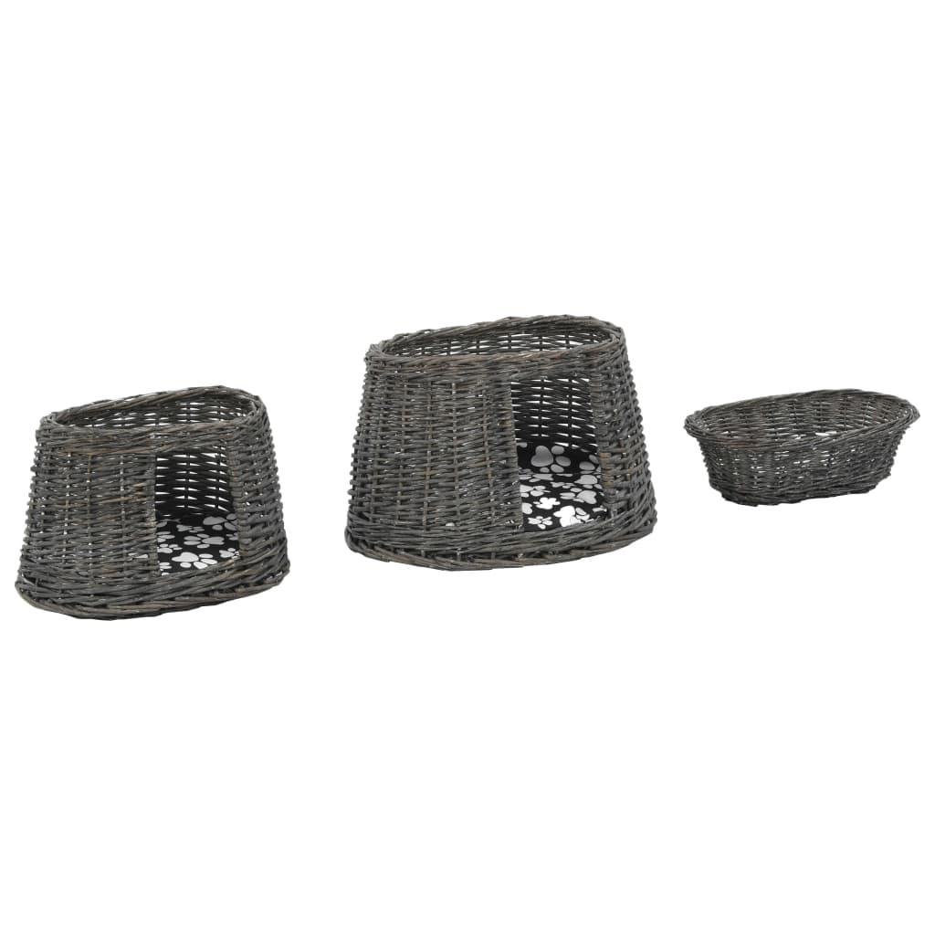 Kattkorg 3 delar med dynor grå 47x34x60 cm naturlig pil