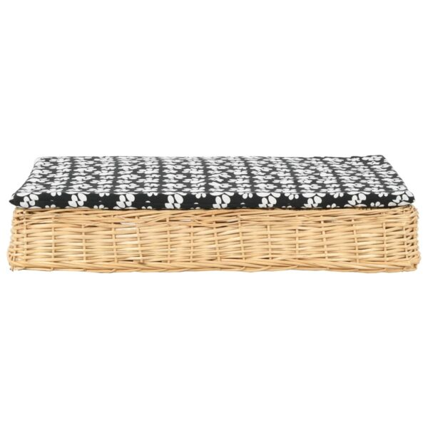Hundbädd med dyna 95x65x15 cm naturlig pil platt design