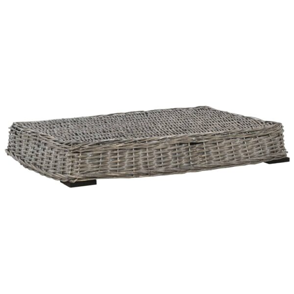 Hundbädd med dyna grå 95x65x15 cm naturlig pil platt design