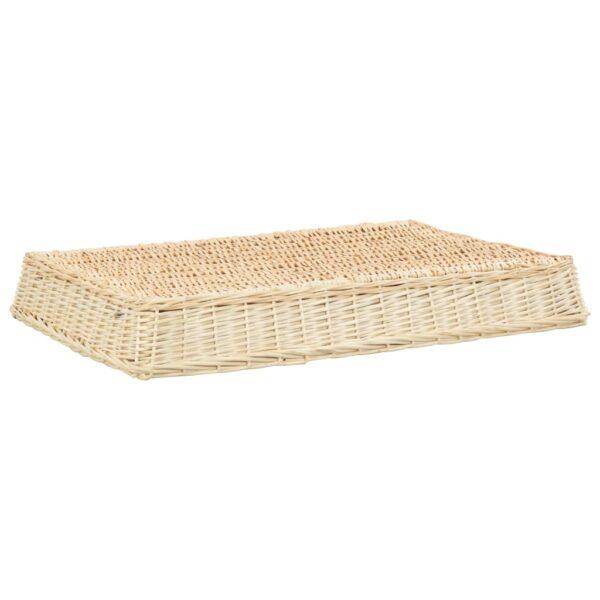 Hundbädd med dyna 110x75x15 cm naturlig pil platt design