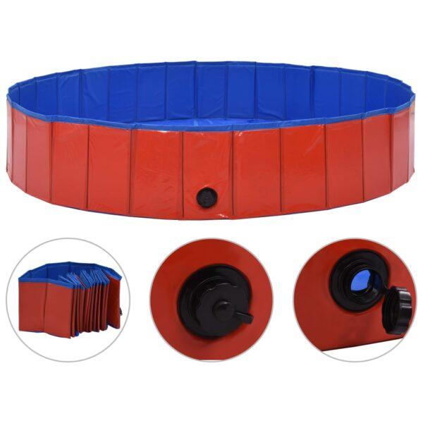 Hopfällbar hundpool röd 160x30 cm PVC