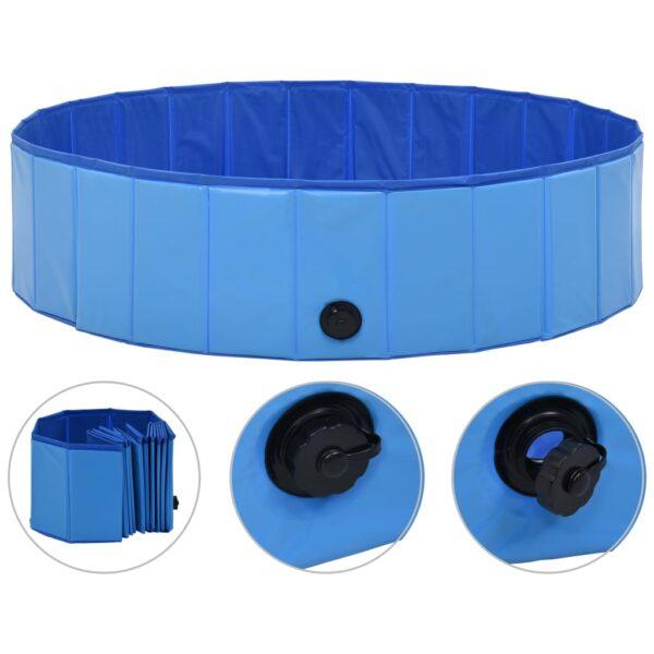 Hopfällbar hundpool blå 120x30 cm PVC