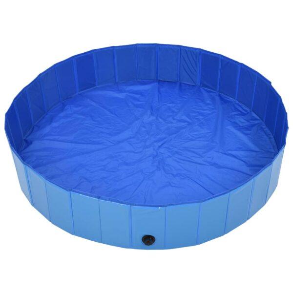 Hopfällbar hundpool blå 160x30 cm PVC