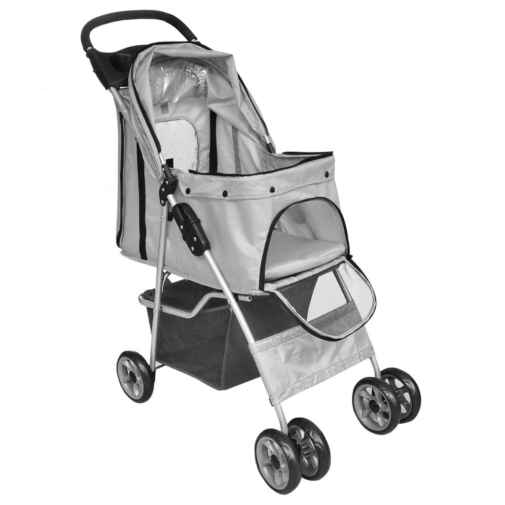 Hopfällbar djurvagn grå